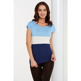 Damenshirts Überschnittener Ärmel hellblau /weiß /blau, M - Bild 1