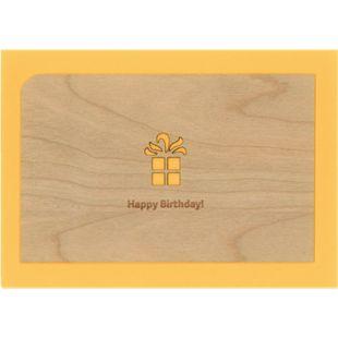 Holzpost Post- & Grußkarten Set 4-tlg. 14x9 cm - Je 1 x Erster, Leben, Danke & Happy Birthday - Bild 1