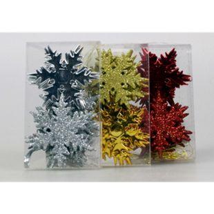 Deko Schneeflocken 6 cm mit Glitter zum Hängen 12 Stk. Rot - Bild 1