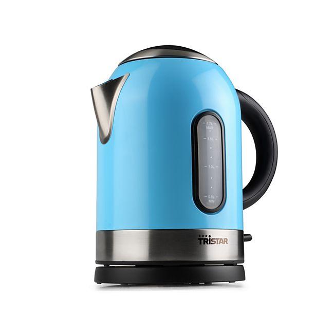 Tristar Wasserkocher 1,7 l, blau, Edelstahl - Bild 1