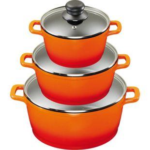 KING Aluguss Kochtopfset 3/6-teilig inklusive Henkelpads, orange - Bild 1