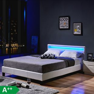 Home Deluxe LED Bett Astro 140x200, weiß - Bild 1