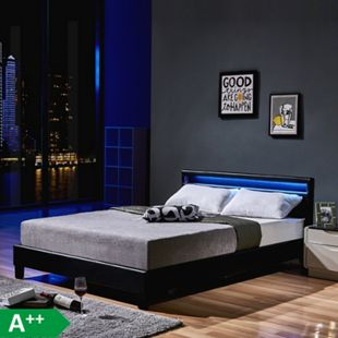 Home Deluxe LED Bett Astro 160x200, schwarz - Bild 1