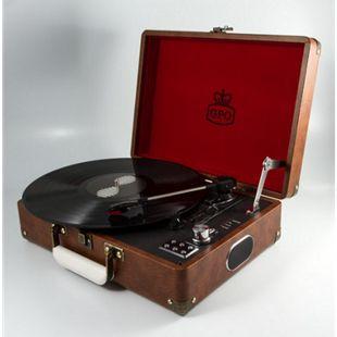 GPO Plattenspieler als Koffer mit eingebauten Lautsprechern - braun - Bild 1