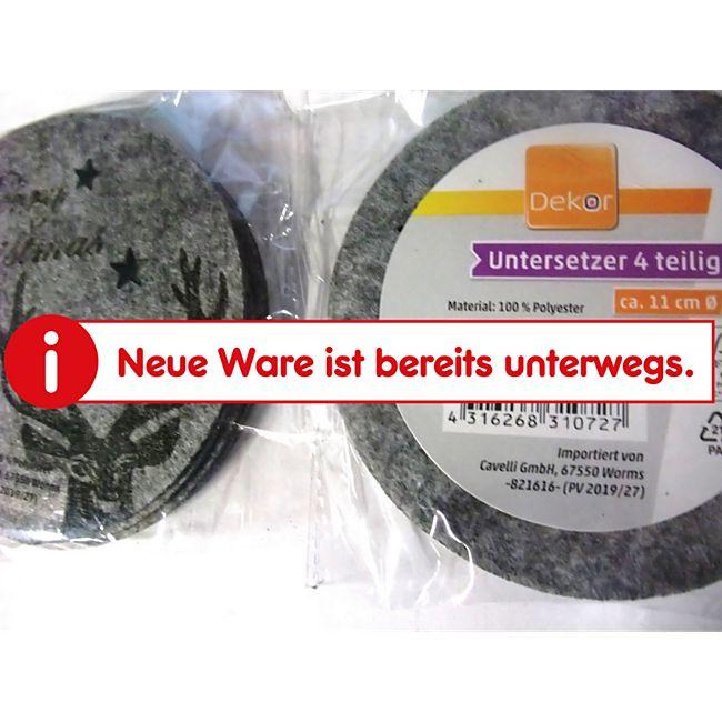 Filz Untersetzer 4er Rentier grau - Bild 1