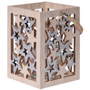 Weihnachtliche Teelichthalter Sterne Silber - Bild 1