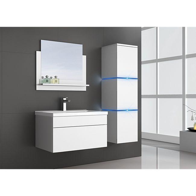 Home Deluxe Wangerooge Badmöbel-Set weiß, ca. 91 cm breit mit Seitenschrank und Spiegel (Gr. L) - Bild 1