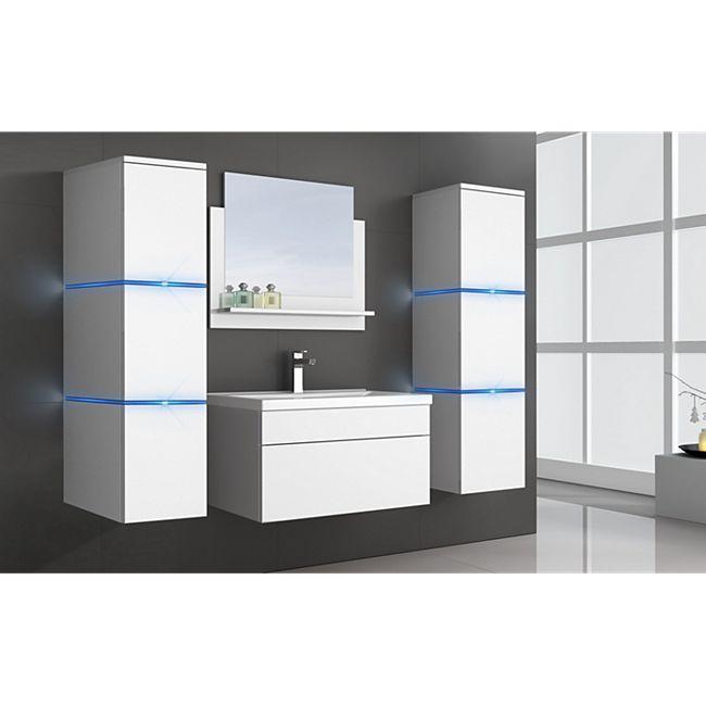 Home Deluxe Wangerooge Badmöbel-Set weiß, ca. 121 cm breit mit Seitenschrank und Spiegel (Gr. XL) - Bild 1