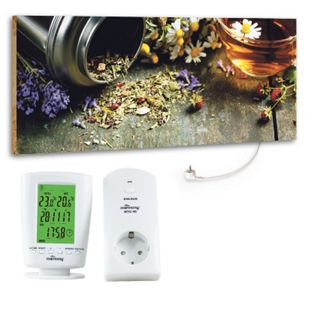 "Marmony 800W Infrarot-Heizung Motiv ""Flower Table"" mit Thermostat MTC-40 - Bild 1"