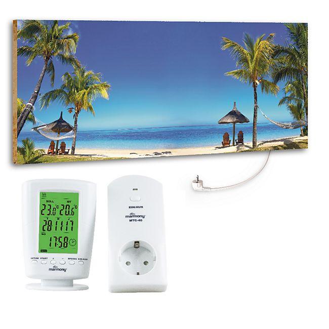 "Marmony 800W Infrarot-Heizung Motiv ""Beach"" mit Thermostat MTC-40 - Bild 1"