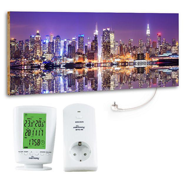 "Marmony 800W Infrarot-Heizung Motiv ""Metropole"" mit Thermostat MTC-40 - Bild 1"