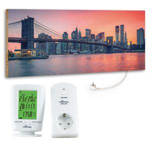 """Marmony 800W Infrarot-Heizung Motiv """"City Sunset"""" mit Thermostat MTC-40 - Bild 1"""