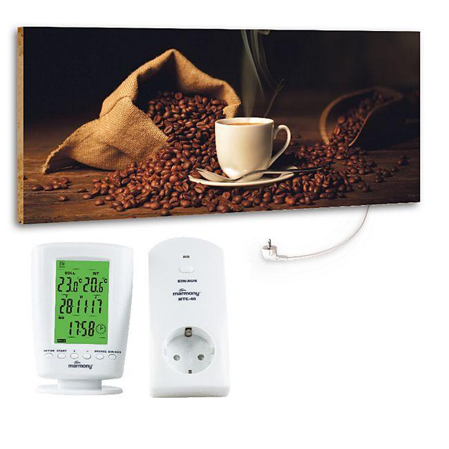 "Marmony 800W Infrarot-Heizung Motiv ""Coffeetime"" mit Thermostat MTC-40 - Bild 1"