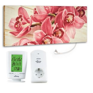 "Marmony 800W Infrarot-Heizung Motiv ""Pink Orchidee"" mit Thermostat MTC-40 - Bild 1"