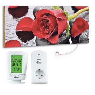 """Marmony 800W Infrarot-Heizung Motiv """"Red Rose"""" mit Thermostat MTC-40 - Bild 1"""