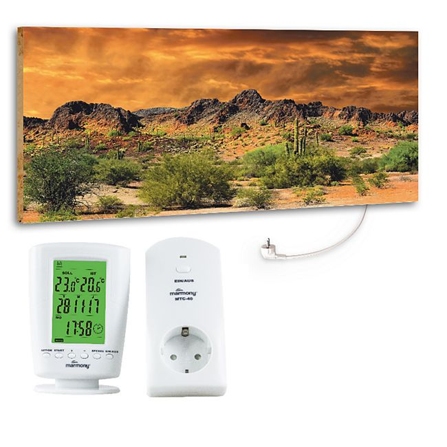 "Marmony 800W Infrarot-Heizung Motiv ""Adventure Rocks"" mit Thermostat MTC-40 - Bild 1"