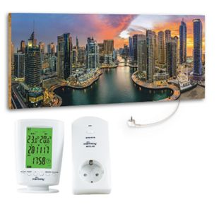 "Marmony 800W Infrarot-Heizung Motiv ""Dubai Marina""mit Thermostat MTC-40 - Bild 1"