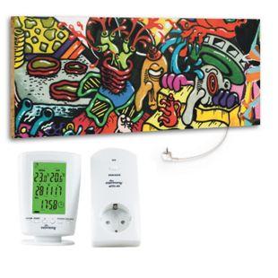 """Marmony 800W Infrarot-Heizung Motiv """"Graffiti"""" mit Thermostat MTC-40 - Bild 1"""