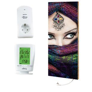 """Marmony 800W Infrarot-Heizung Motiv """"Arabic Eyes 2"""" mit Thermostat MTC-40 - Bild 1"""