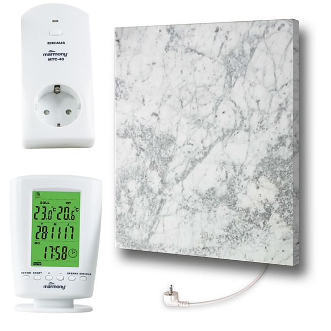 Marmony Infrarotheizung C480Plus (500W) Carrara mit Thermostat MTC-40 - Bild 1