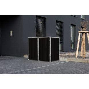 Hide Mülltonnenbox 140l Kunststoff, 2er Box, schwarz - Bild 1
