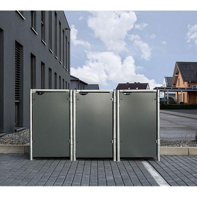 Hide Mülltonnenbox 240l Kunststoff, 3er Box, grau - Bild 1
