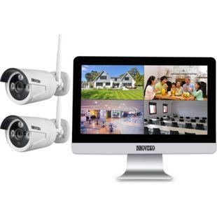 """WLAN Komplettset 4-Kanal Netzwerkrekorder mit 25,4 cm (10"""" Zoll) LCD-Bildschirm und 2 x HD 1.3MP Überwachungskameras - Bild 1"""