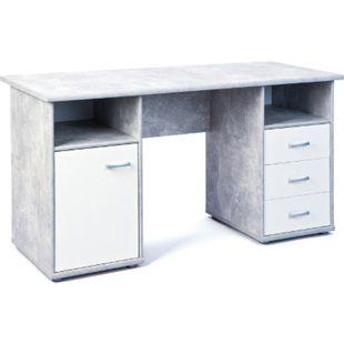 Inter Link Schreibtisch Florus 1 Tür Beton-weiß - Bild 1