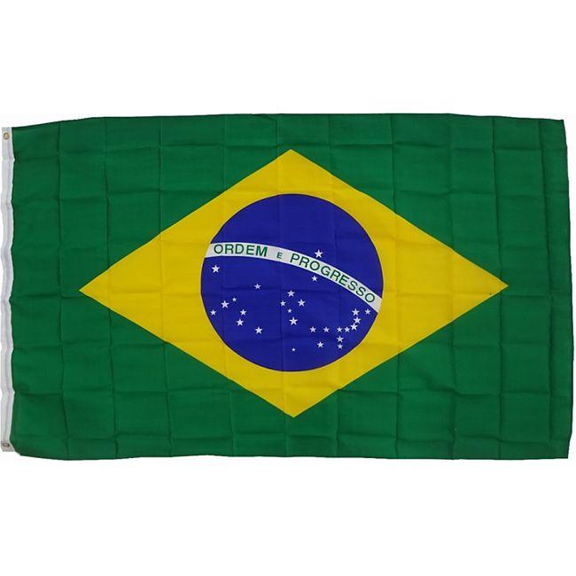 XXL Flagge Brasilien 250 x 150 cm Fahne mit 3 Ösen 100g/m² Stoffgewicht - Bild 1