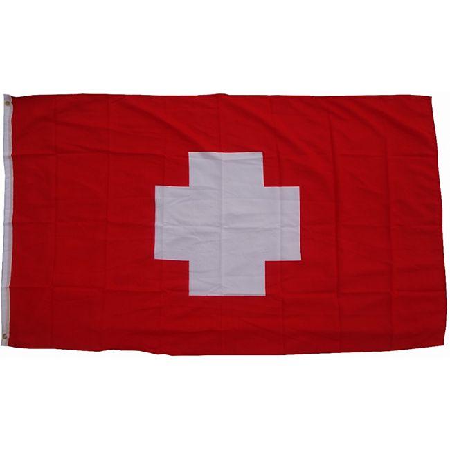 XXL Flagge Schweiz 250 x 150 cm Fahne mit 3 Ösen 100g/m² Stoffgewicht - Bild 1