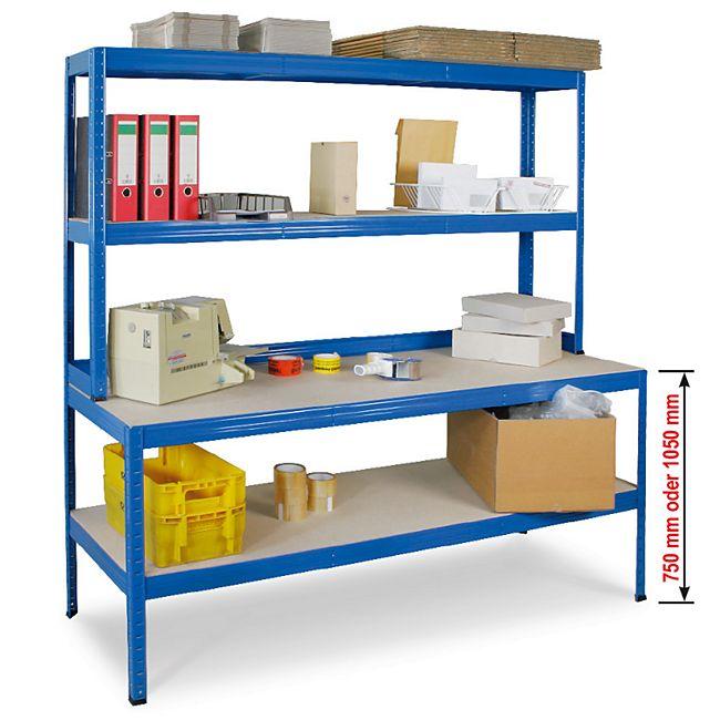 BRB 72069 Arbeits- und Packtisch 180 x 90 x 60 cm mit Stufenregal 90 x 30 cm - Bild 1