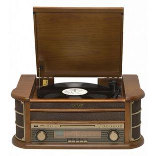 Denver MCR-50MK2 Retro Plattenspieler aus Holz mit Radio CD Kassette USB MP3 - Bild 1