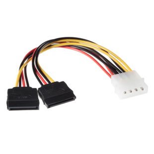 Poppstar 10cm S-ATA Strom Adapter Kabel (1x 4-Pin Molex Stecker auf 2x 14-Pin Sata Buchse) - Bild 1