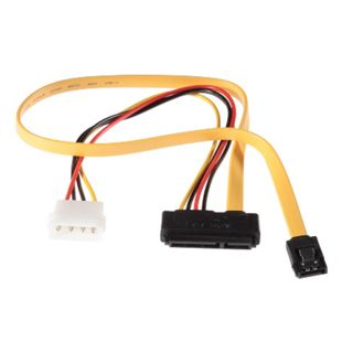 Poppstar 0,5m S-ATA Dual Kabel 0,5 m SATA Daten + Stromkabel, gelb - Bild 1