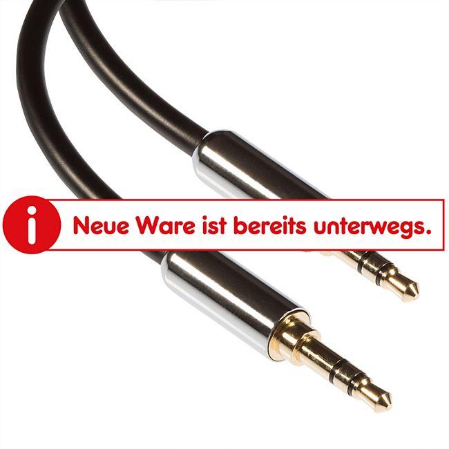 Poppstar 1x 3m HQ Audio Klinkenkabel 3.5mm (Metallstecker, vergoldete Kontakte), schwarz - Bild 1