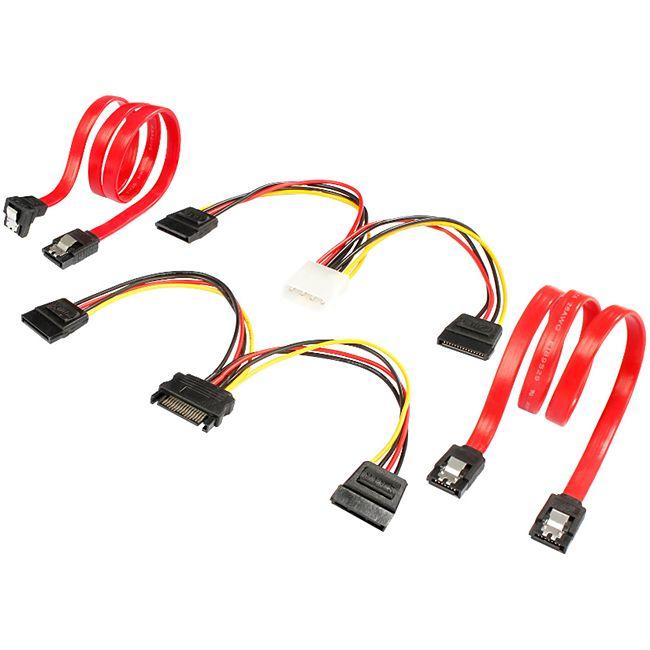 Poppstar S-ATA Kabelset, 2xSata 3 (Stecker 1xgerade 1xgerade-gewinkelt) 1xY Stomkabel 1xY Datenkabel - Bild 1