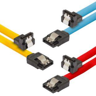 Poppstar 3x 0,5m S-ATA 3 Kabel (Stecker gerade auf 90 Grad gewinkelt), 1x gelb, 1x rot, 1x blau - Bild 1