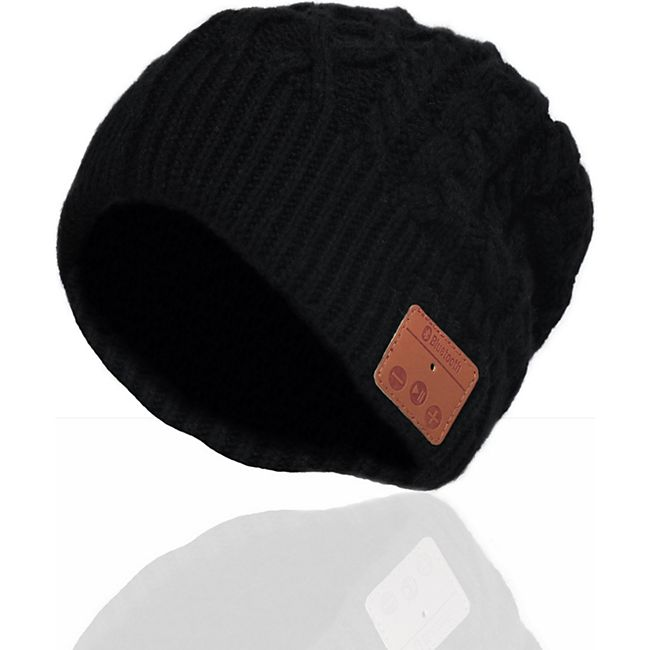Sharon Music Beanie Bluetooth Kopfhörer-Mütze mit Zopfmuster, schwarz - Bild 1