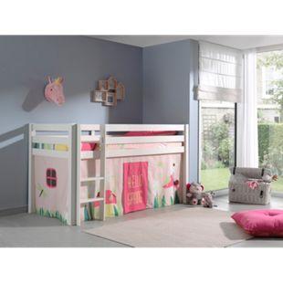 Vipack Spielbett Pino, Kiefer massiv weiß mit Vorhang - Dessin Spring - Bild 1