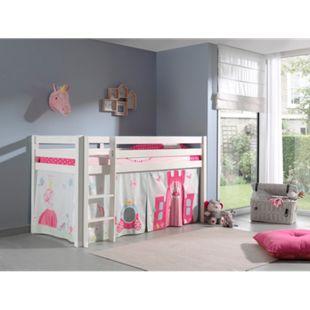 Vipack Spielbett Pino, Kiefer massiv weiß mit Vorhang - Dessin Princes - Bild 1