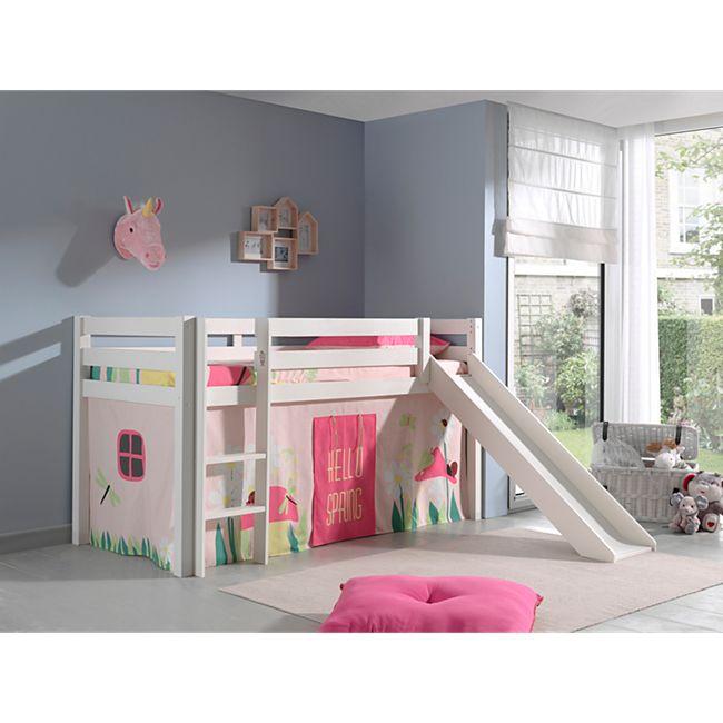 Vipack Spielbett Pino inkl. Rutsche, Kiefer massiv weiß mit Vorhang - Dessin Spring - Bild 1