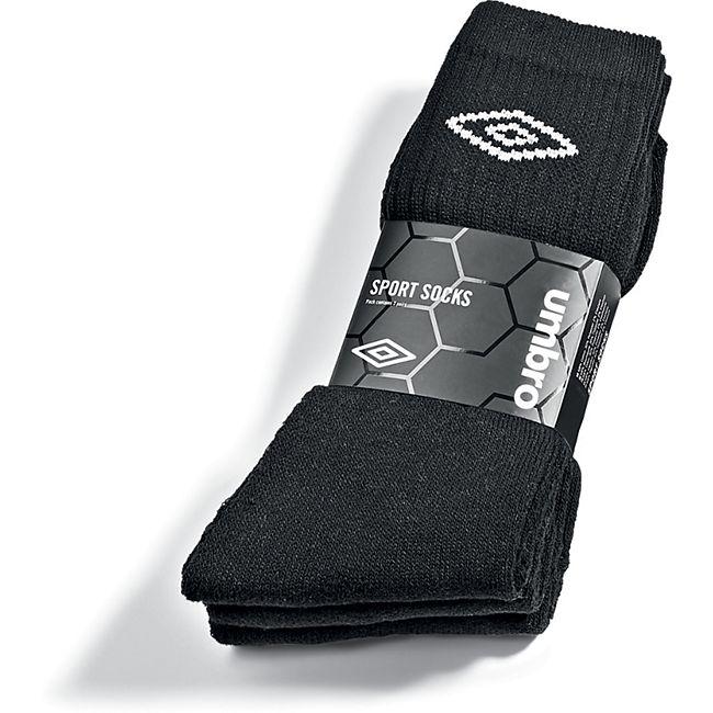 Umbro Sportsocken - 3er Pack, schwarz mit weißem Logo, Gr. 43-46 - Bild 1