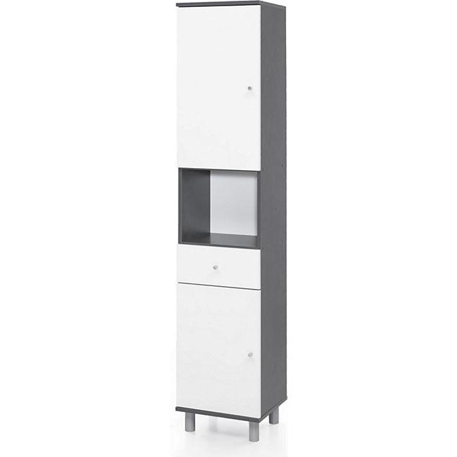 Hochschrank 2-trg. mit 1 offenen Fach und 1 Schublade, Ausf. Graphit / Weiß Melamin Dekor - Bild 1