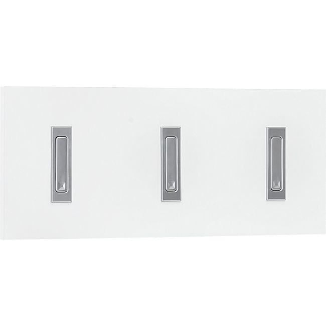 Garderobenpaneel quer mit 3 Klapphaken, Ausf. Melamin Dekor Weiß - Bild 1