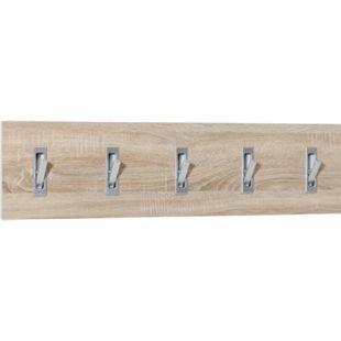 Garderobenpaneel quer mit 5 Klapphaken, Ausf. Melamin Dekor Sonoma Eiche - Bild 1