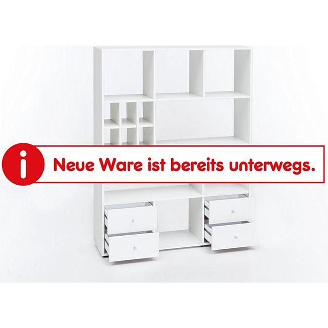 Regal Raumteiler mit 4 Schubladen und 13 Fächern, Ausf. Melamin Dekor Weiß - Bild 1