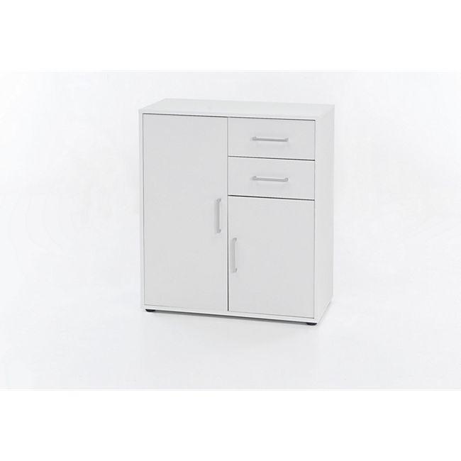 Kommode mit 2 Türen und 2 Schubladen, Ausf. Melamin Weiß Dekor - Bild 1