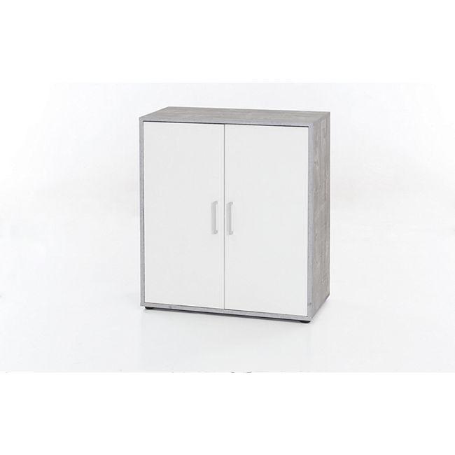 Kommode mit 2 Türen, Ausf. Melamin Beton / Weiß Dekor - Bild 1