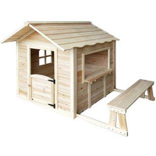 """Home Deluxe Spielhaus """"Der große Palast"""" natur, mit Bank - Bild 1"""