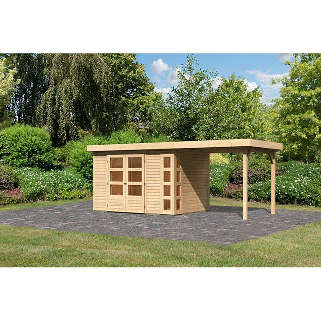 Woodfeeling Gartenhaus Kerko 4 mit Anbaudach ca. 2,40 m breit naturbelassen - Bild 1